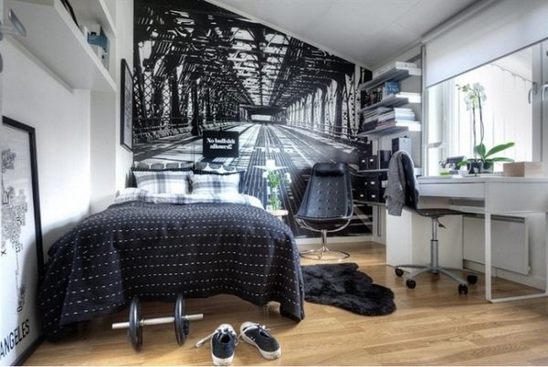 creative-teen-boy-bedroom-ideas-black-white-interior-wood-flooring