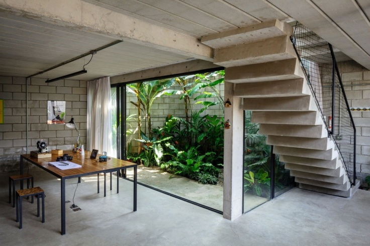 open-home-office-simple-house-design-with-glass-sliding-door-with-small-garden-and-wooden-table-plus-exposed-brick-wall-ideas-garden-449087017