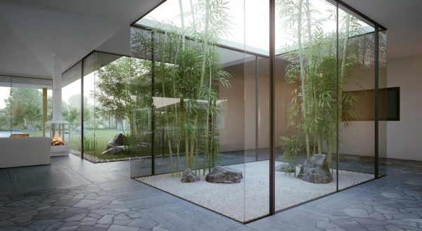 Stunning Indoor Garden Glass Cover Single Story Modern Cottage