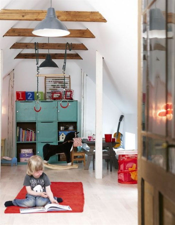 nursery-with-attic-basset-spielpaltz-children-open-beamed-ceilings-pendant-light-industrial