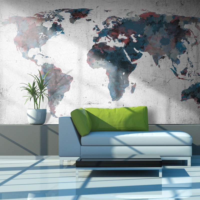 fototapeta-world-map-on-the-wall