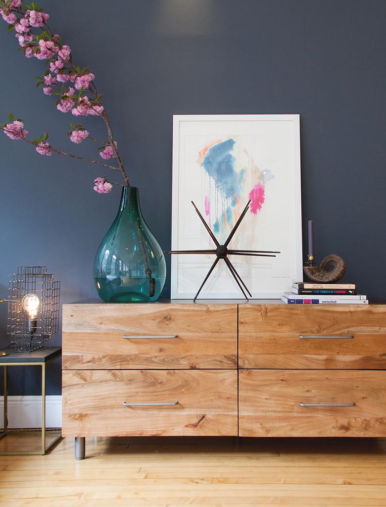 bedroom-stunning-image-of-slate-blue-bedroom-design-and-decoration-using-royal-slate-blue-bedroom-wall-paint-including-modern-rustic-6-drawer-solid-oak-wood-dresser-and-sakura-pink-flowe