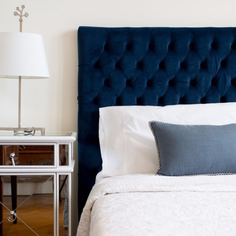 blue-upholstered-bed-mirrored-nightstand-blue-bedroom-ideas-modern-master-bedroom-design